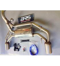 BRS Motorsport - Terminale dx-sx SILENZIATO con VALVOLA APRI & CHIUDI, con finali 2x100mm per FIAT 500 Abarth con motore 1.4L TJet qualsiasi modello (>08/08)